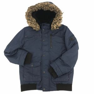 Michael Kors Navy Jacket w/ Faux Fur Hood S 10-12